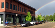 photo of Library Building with rainbow
