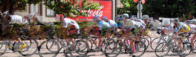 photo of bike racers near the Museum